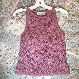 Pastel Pink Crochet Knit Boho Festival Crop Tank